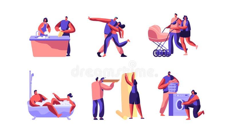 Lycklig uppsättning för bild för begrepp för familjdagtecken Det gulliga make- och fruteckenet gör folk för läxa tillsammans vektor illustrationer