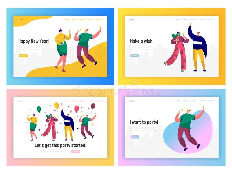 Lycklig uppsättning för sida för landning för parti för nytt år för affärsfolk Företags Team Character Celebrate Christmas eller  vektor illustrationer