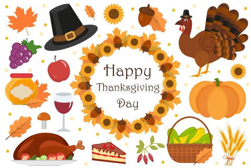 Lycklig uppsättning för tacksägelsedagsymbol, lägenhet, tecknad filmstil Beståndsdelar för tacksägelsefestsamlingsdesign med kalk stock illustrationer