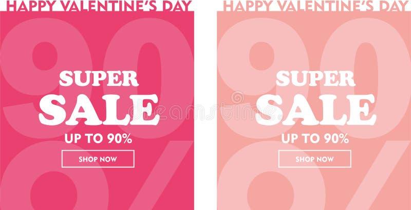 Lycklig uppsättning för valentinförsäljningsbaner Upp till 90% stock illustrationer