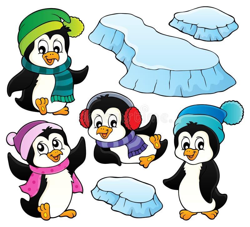 Lycklig uppsättning 1 för vinterpingvinämne stock illustrationer