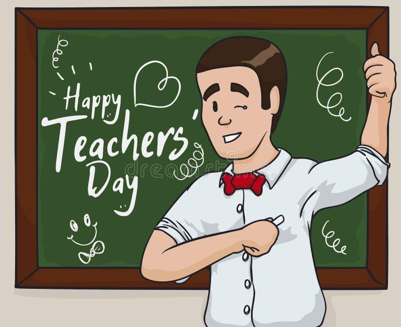 Lycklig utbildare Celebrating Teacher & x27; s-dag, vektorillustration royaltyfri illustrationer