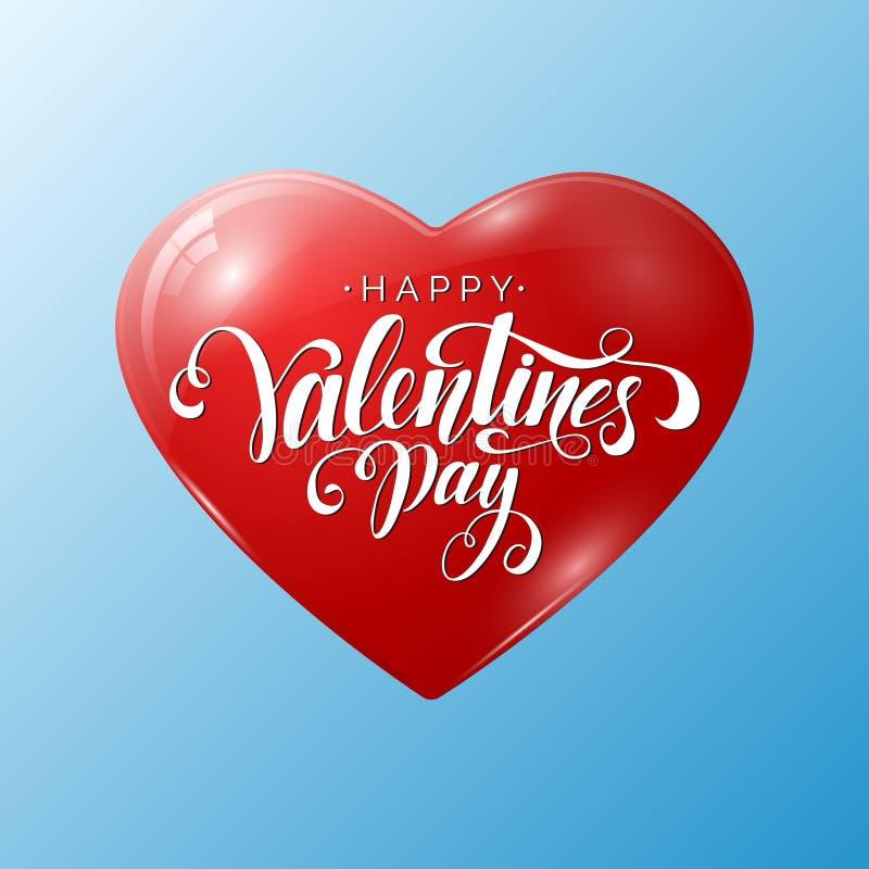 Lycklig valentin bokstäver för dagvektor med den röda heliumballongen som isoleras på blå bakgrund Mall för kort för dag för vale stock illustrationer