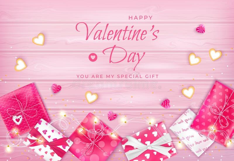 Lycklig valentin dagreklamblad, horisontalrengöringsdukbanerbakgrund med godisar, kakor i formen av hjärta, girland, gåvaaskar stock illustrationer