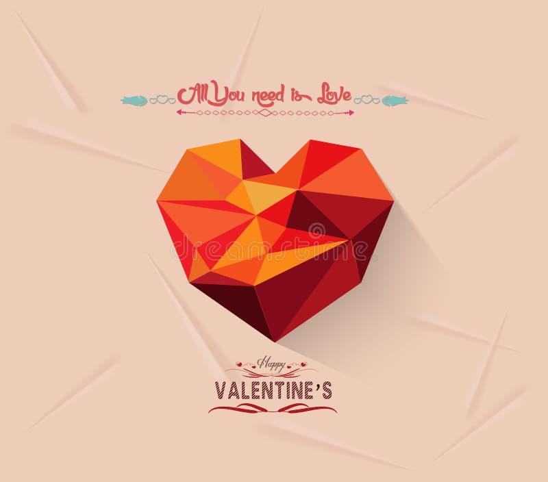 Lycklig valentin med geometrisk hjärta vektor illustrationer
