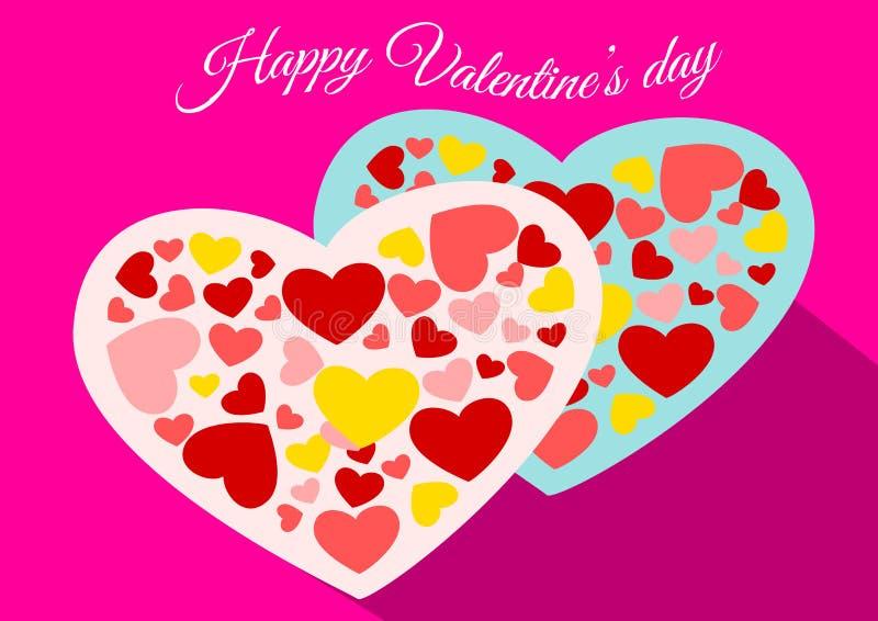 Lycklig valentin vektor för hjärta för dagpar vektor illustrationer