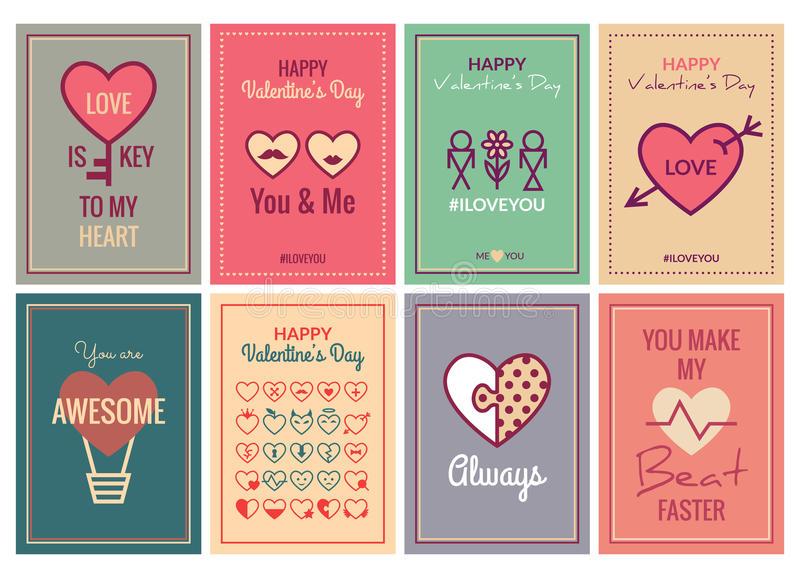 Lycklig valentindag eller bröllopkortuppsättning vektor illustrationer