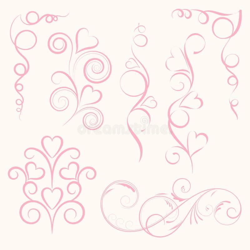 Lycklig valentindag och rensa designbeståndsdelar Vektorillustr royaltyfria bilder