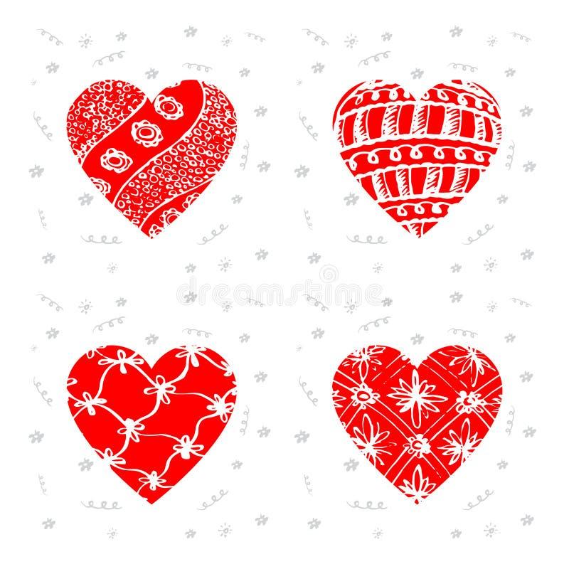 Lycklig valentindag - uppsättning av hälsningkort med modellen Vecto vektor illustrationer