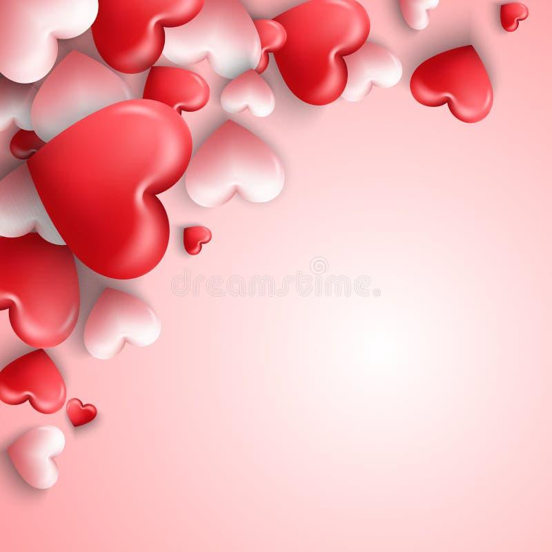 Lycklig valentindagbakgrund med hjärtor sväller i rosa bakgrund stock illustrationer