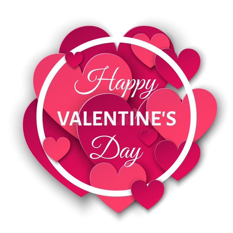 Lycklig valentindagbakgrund med rosa hjärtor och rundan fr vektor illustrationer