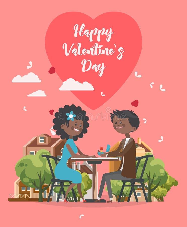 Lycklig valentindagvektor Hälsningkort med afrikanAmerika par som är förälskade i kafé Bakgrund för valentin` s i plan stil stock illustrationer