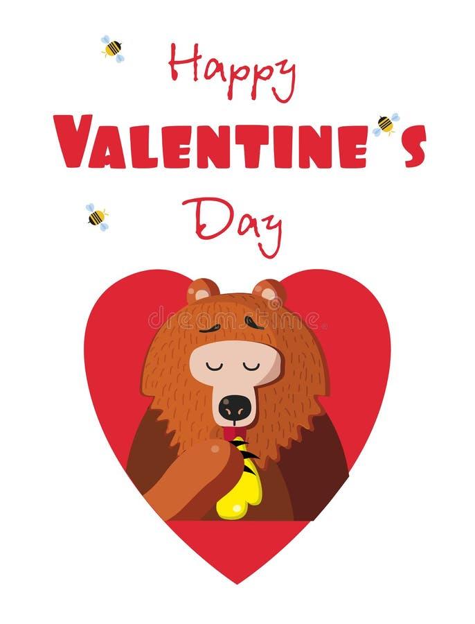 Lycklig valentindagvykort av den gulliga björnen som äter honung i röd hjärta vektor illustrationer