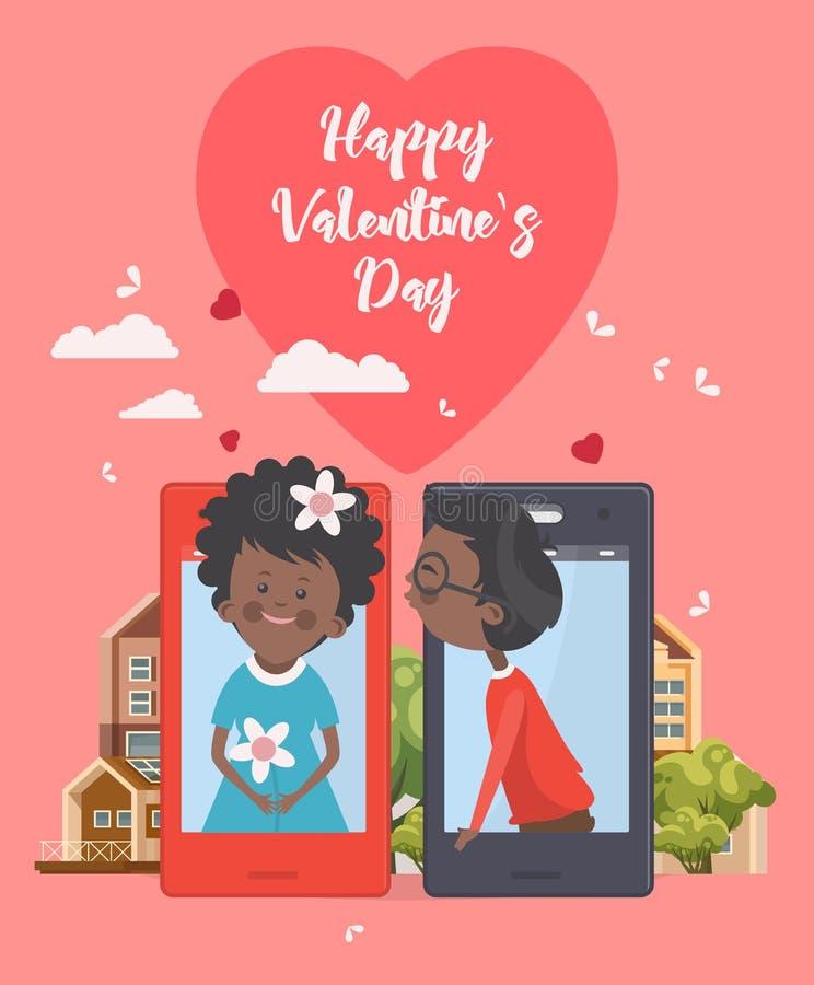 Lycklig Valentine Day vektorillustration med den afrikansk amerikankvinnan och mannen Selfie av barnpar Telefondatummärkning Rosa royaltyfri illustrationer
