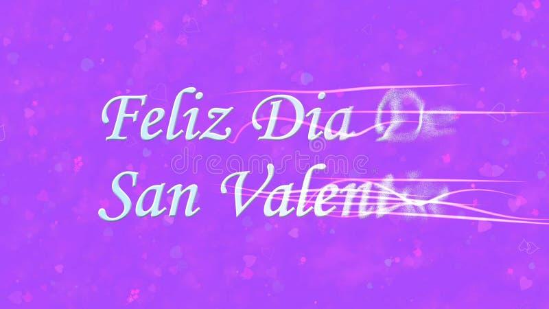 Lycklig valentins dagtext i spanska Feliz Dia De San Valentin vänder till damm från rätt på purpurfärgad bakgrund royaltyfri illustrationer
