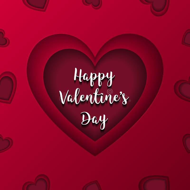 Lycklig vektor för kort för valentindaghälsning Röd hjärta i mitt c royaltyfri illustrationer