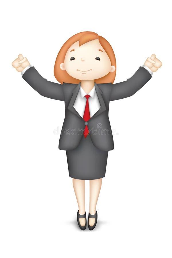lycklig vektorkvinna för affär 3d royaltyfri illustrationer