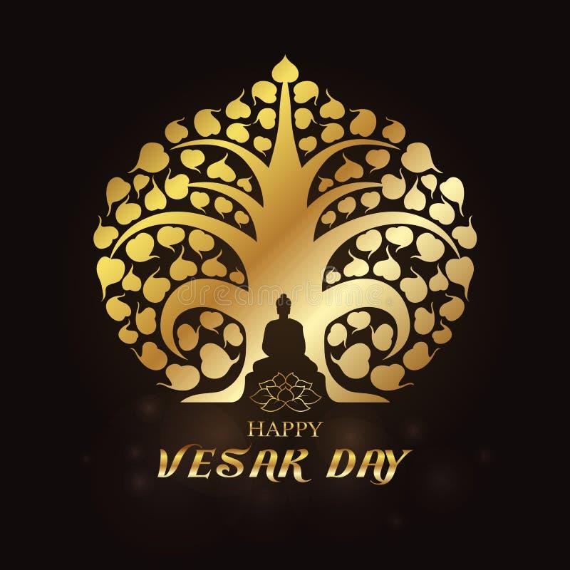 Lycklig Vesak dag - den guld- Buddha under det Bodhi trädet och lotusblommakonstvektorn planlägger royaltyfri illustrationer