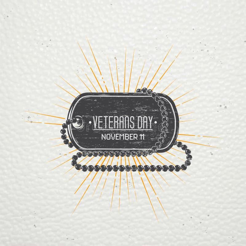 Lycklig veterandag Detaljerade beståndsdelar Gammal retro tappninggrunge Skrapad, skadad smutsig effekt Typografiska etiketter, k royaltyfri illustrationer