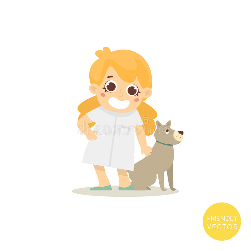 Lycklig veterinar kvinna med hunden som isoleras på vit Veterinar tecken Daltar kliniken också vektor för coreldrawillustration stock illustrationer