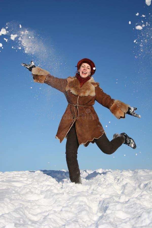 lycklig vinter girl4 fotografering för bildbyråer