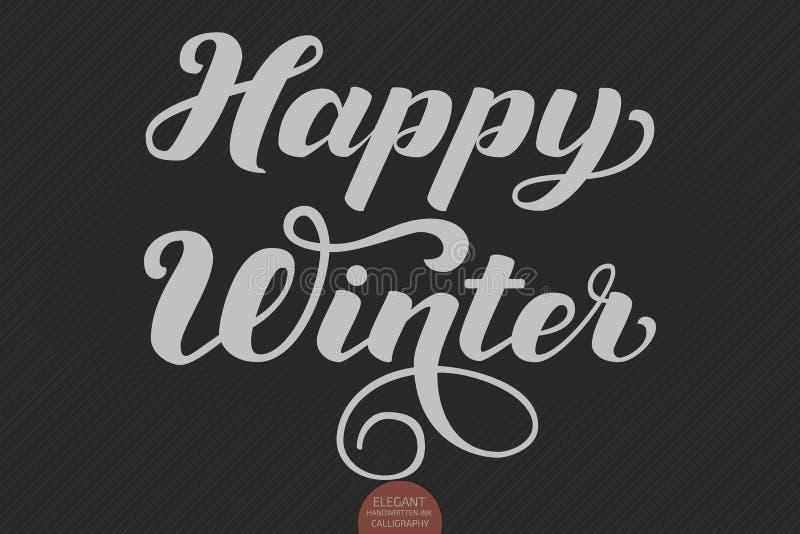 Lycklig vintertext för vektor Calligraphic mall för bokstäverdesignkort Idérik typografigåvaaffisch för ferier på vektor illustrationer