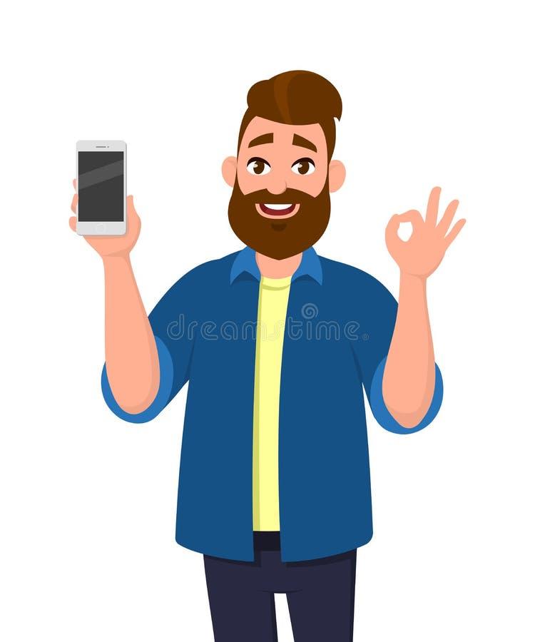 Lycklig visningsmartphone för ung man och visninggodkännande, reko eller nolla-tecken royaltyfri illustrationer