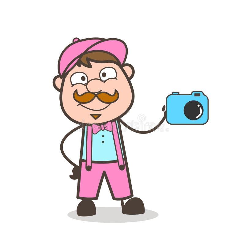 Lycklig vuxen representant Showing för tecknad film en kamera för annonsering stock illustrationer