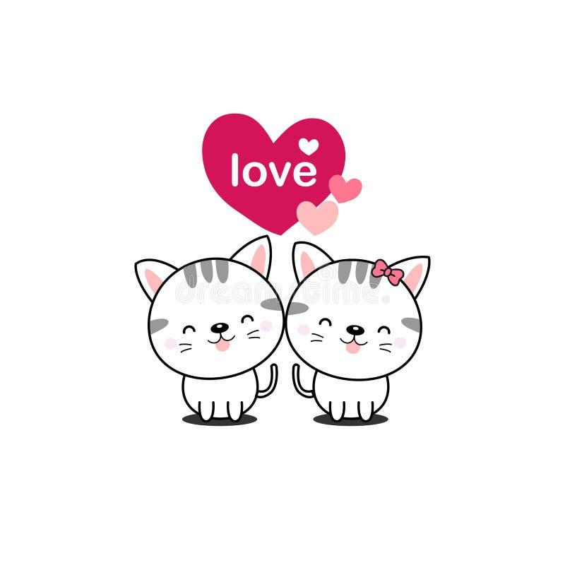 Lycklig vykort för dag för valentin` s gullig förälskelse för katter stock illustrationer