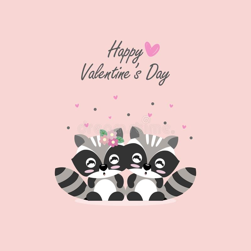 Lycklig vykort för dag för valentin` s Söt illustration för vektor för partvättbjörntecknad film vektor illustrationer