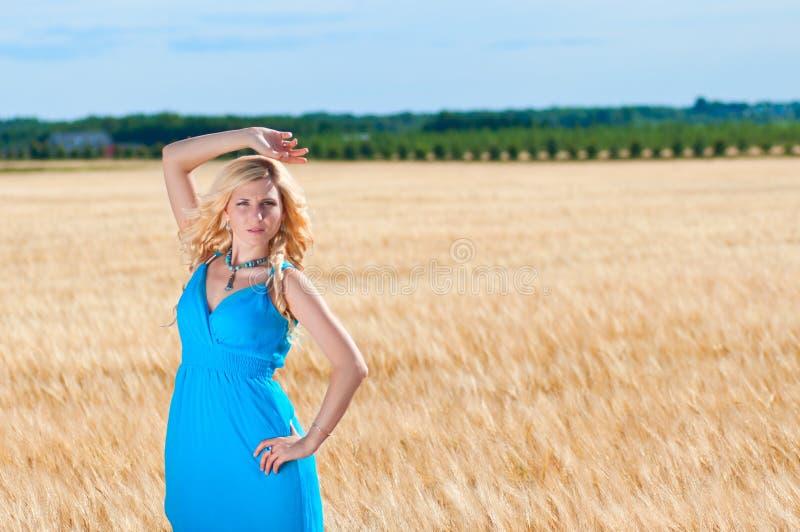 Lycklig womaninblåttklänning i guld- vete royaltyfria foton