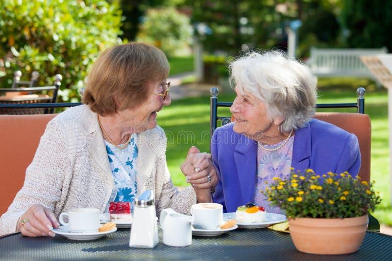 Lyckliga äldre kvinnor som pratar på den trädgårds- tabellen royaltyfria foton