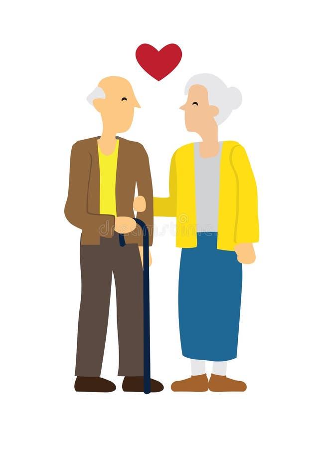 Lyckliga äldre par som visar affektion över de Begrepp av f?r?lskelse och affektion vektor illustrationer