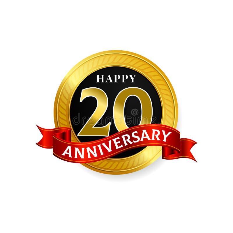 Lyckliga 20 år guld- årsdaglogoberöm med cirkeln och bandet vektor illustrationer