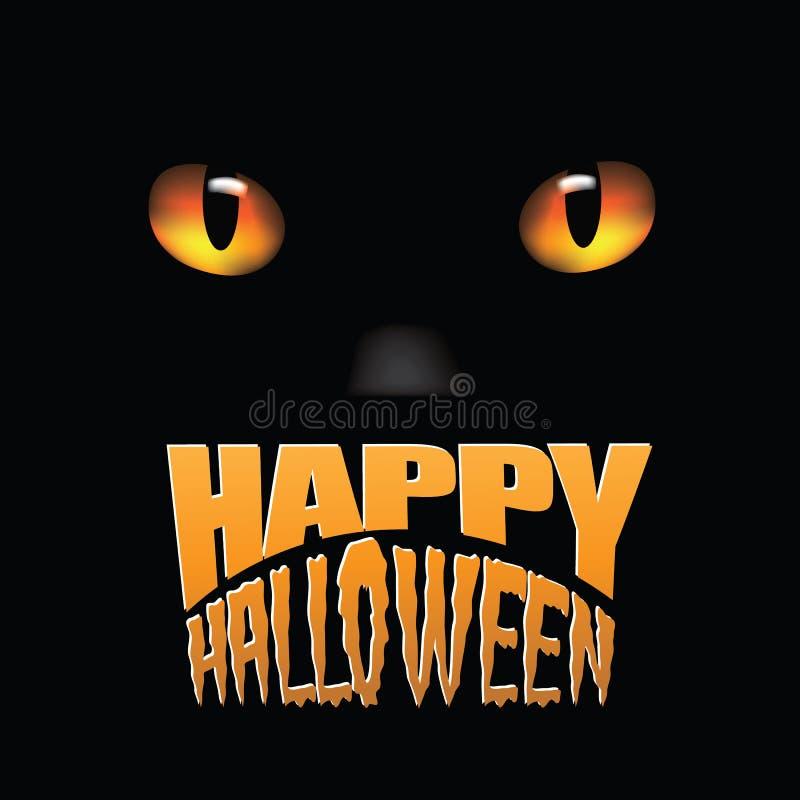 Lyckliga ögon för svart katt för allhelgonaafton royaltyfri illustrationer