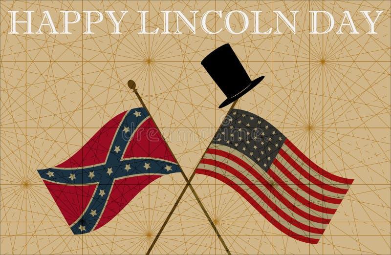 Lyckliga Abraham Lincoln Day Union- och förbundsmedlemflaggor och bästa hatt royaltyfri illustrationer