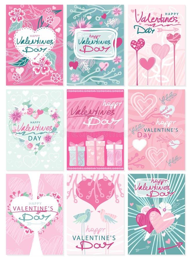 Lyckliga affischer för reklamblad för valentindagparti stock illustrationer