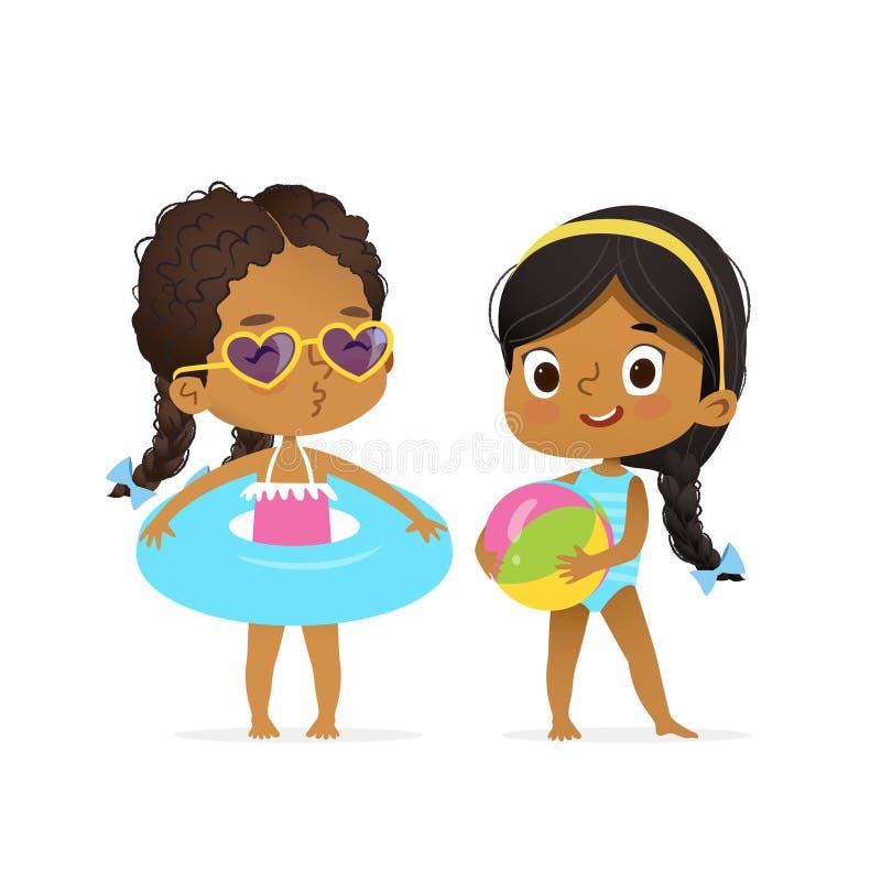 Lyckliga afro- amerikanska barn i baddräktlek stock illustrationer