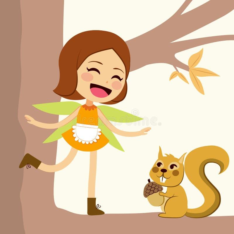 Lyckliga Autumn Fairy royaltyfri illustrationer