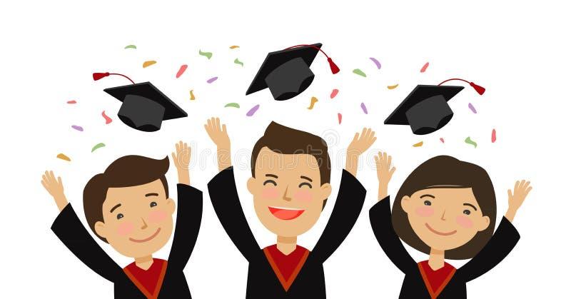 Lyckliga avlägga examen studenter som kastar avläggande av examenlock Utbildning skola, högskolabegrepp den främmande tecknad fil royaltyfri illustrationer