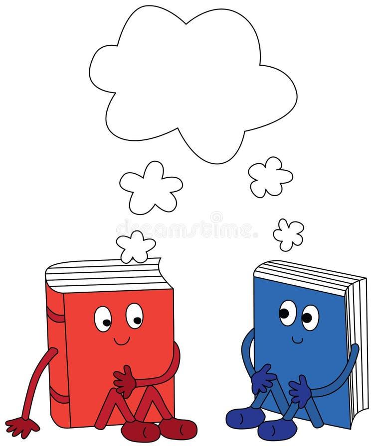 Lyckliga böcker royaltyfri illustrationer