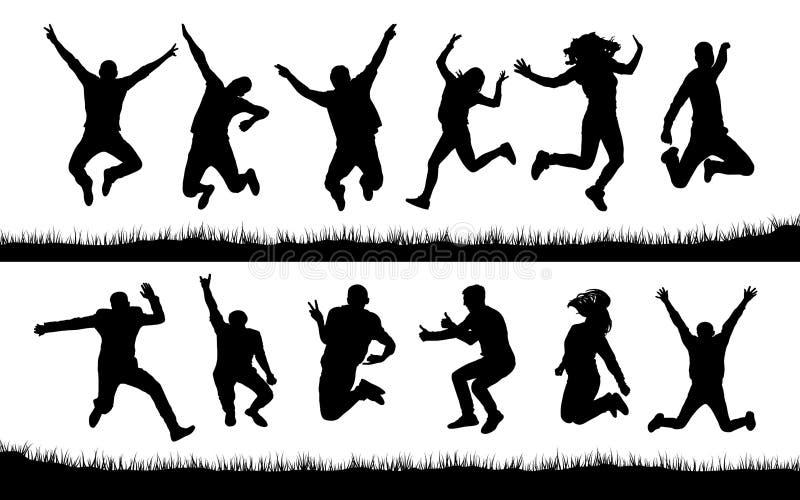 Lyckliga banhoppningfolkkonturer stock illustrationer
