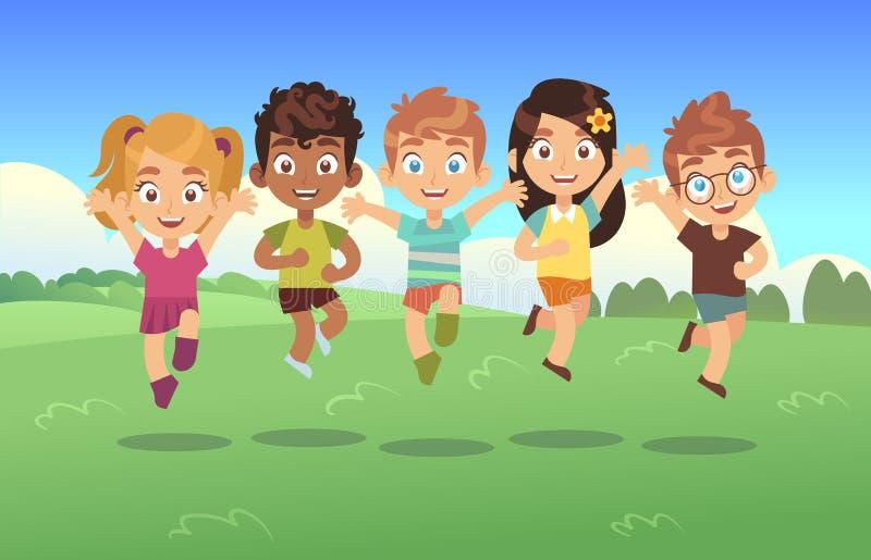 Lyckliga banhoppningungar Barn semestrar tecknad filmpanoramabarns ängen för sommar parkerar tonåringar hoppar tillsammans bakgru royaltyfri illustrationer