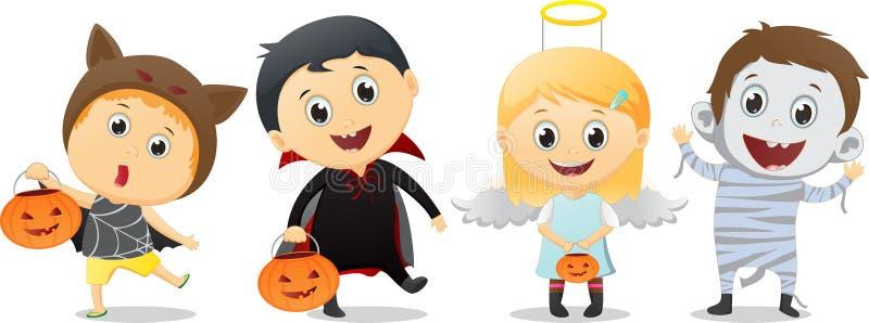 Lyckliga barn i allhelgonaafton festar trick eller behandling royaltyfri illustrationer