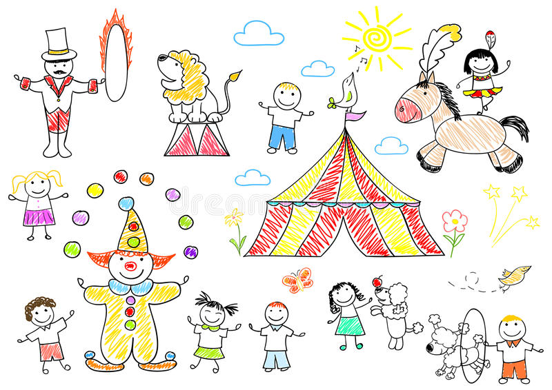 Lyckliga barn i cirkus stock illustrationer. illustration av ...