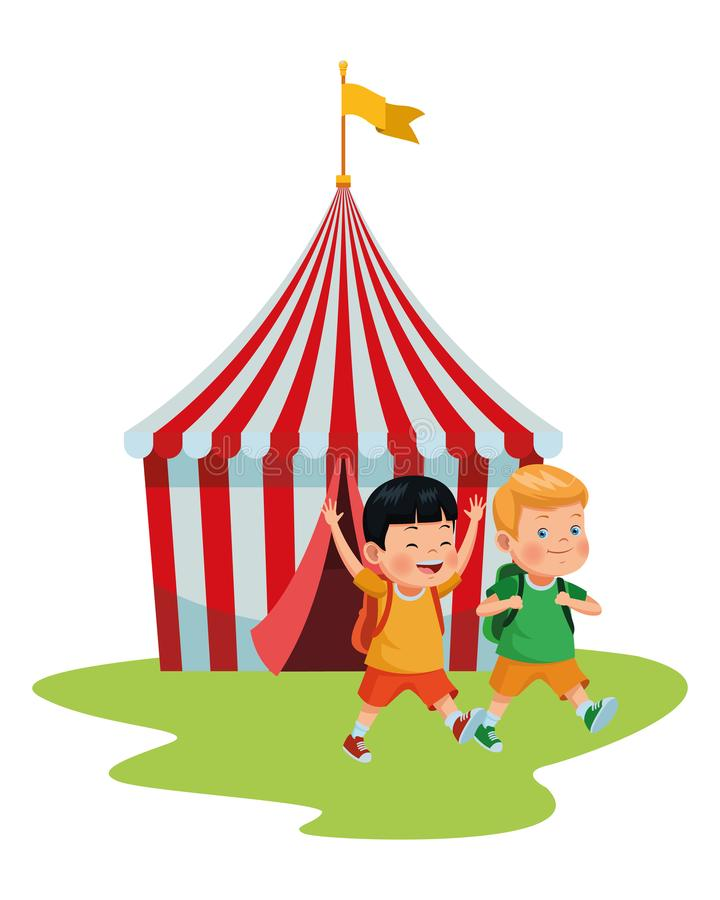 Lyckliga barn i cirkusen stock illustrationer