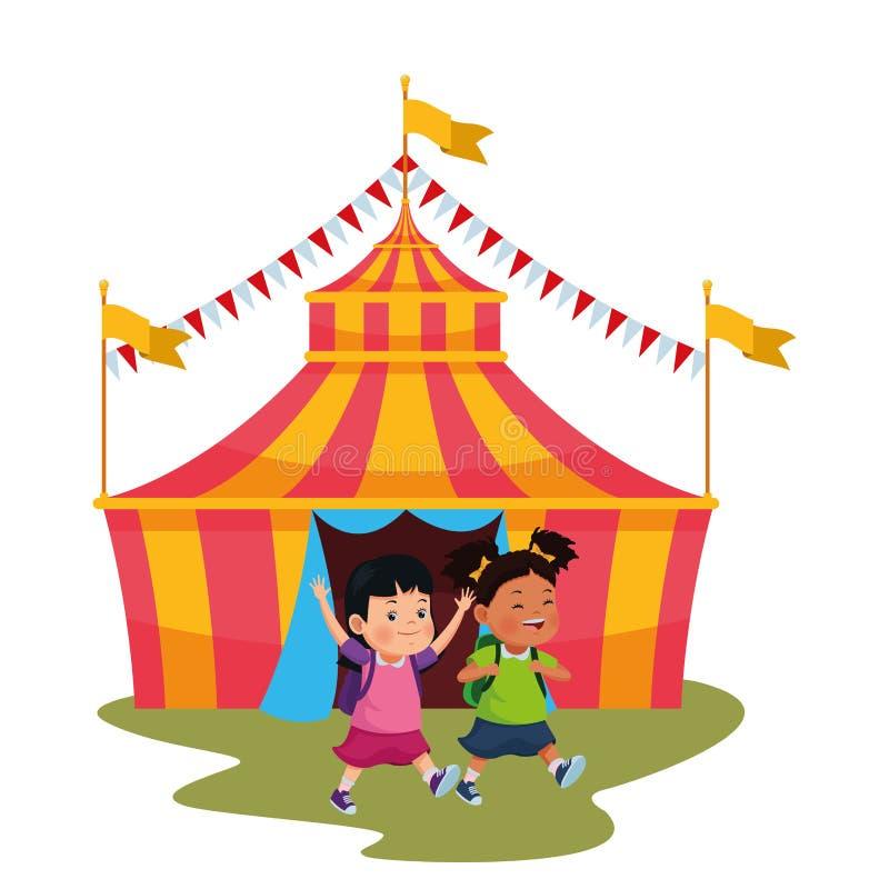 Lyckliga barn i cirkusen royaltyfri illustrationer