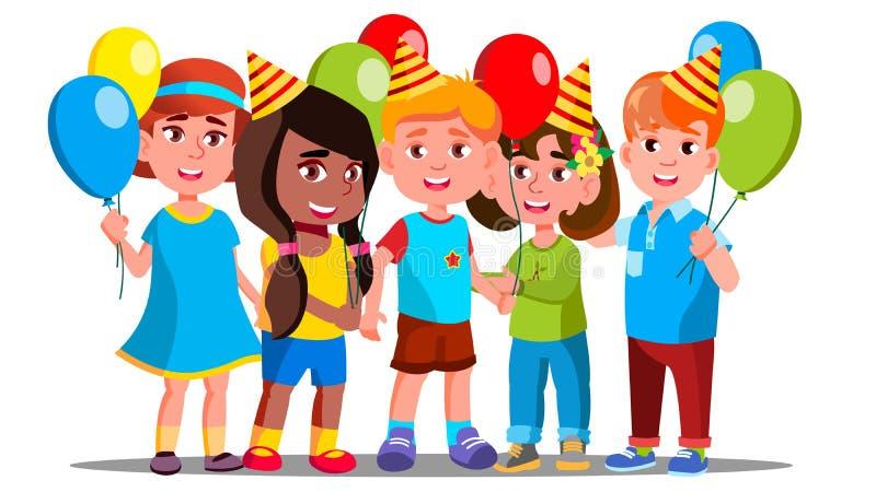 Lyckliga barn i partilock med ballongbakgrundsvektorn isolerad knapphandillustration skjuta s-startkvinnan stock illustrationer