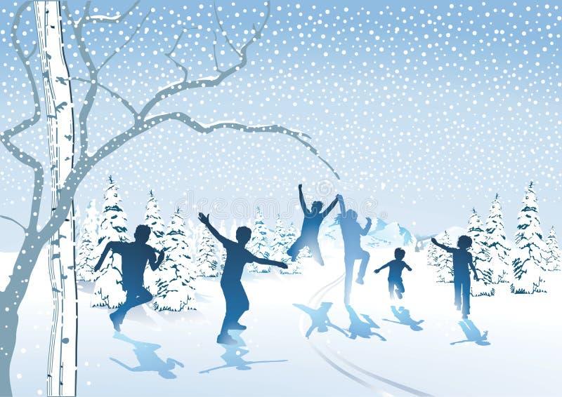 Lyckliga barn i snön vektor illustrationer
