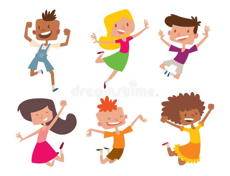 Lyckliga barn i stor vektor för olika positioner som hoppar det gladlynta barnet, grupperar, och den roliga tecknade filmen lurar royaltyfri illustrationer